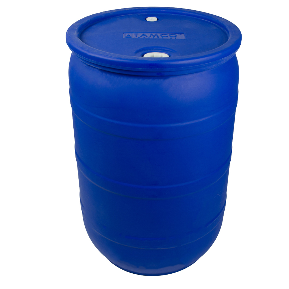 "30 Gallon Blue Closed Head Drum with 3/4"" & 2"" NPS Bungs"