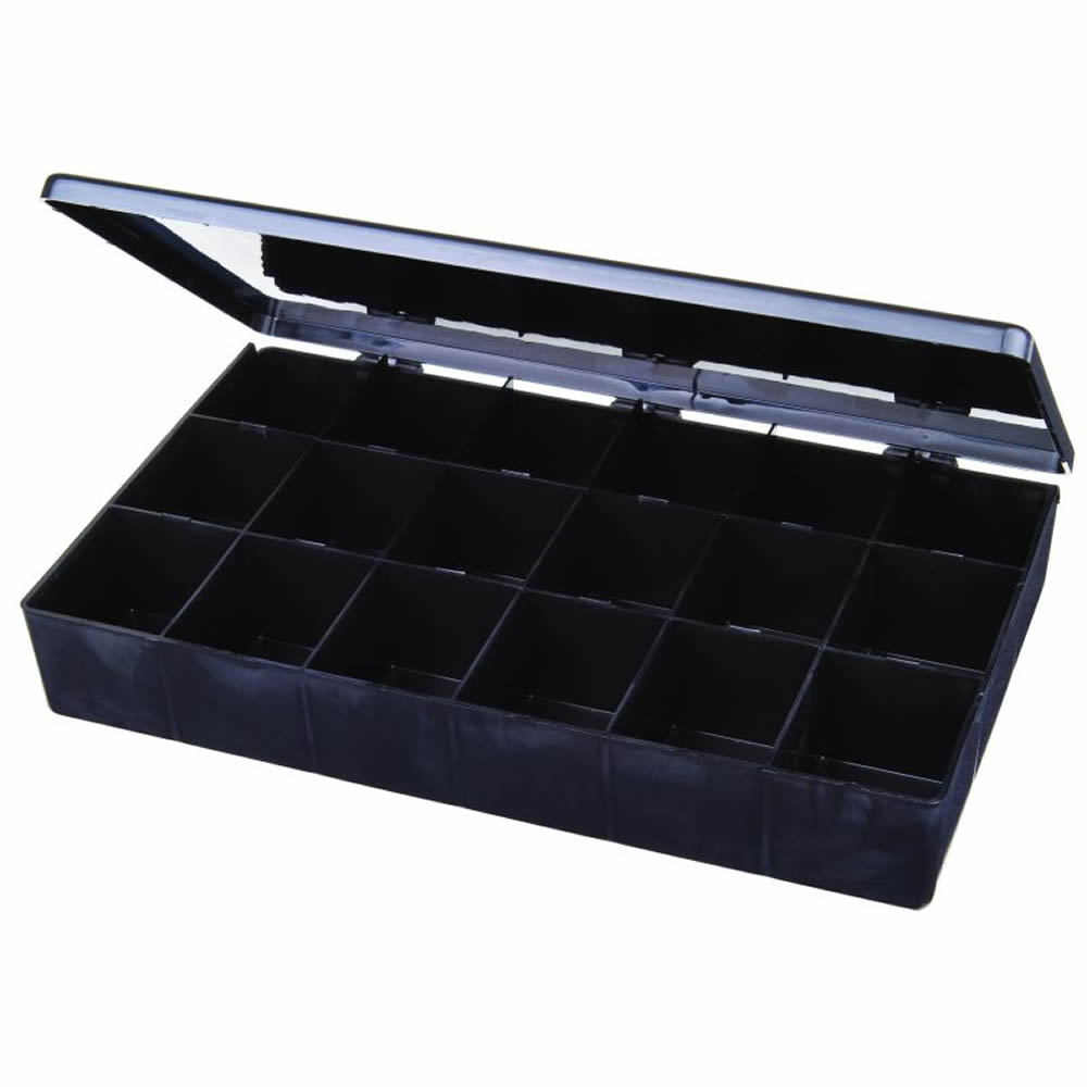 "18-Compartment Black Conductive Box - 10-1/2"" L x 6-3/16"" W x 1-9/16"" Hgt."