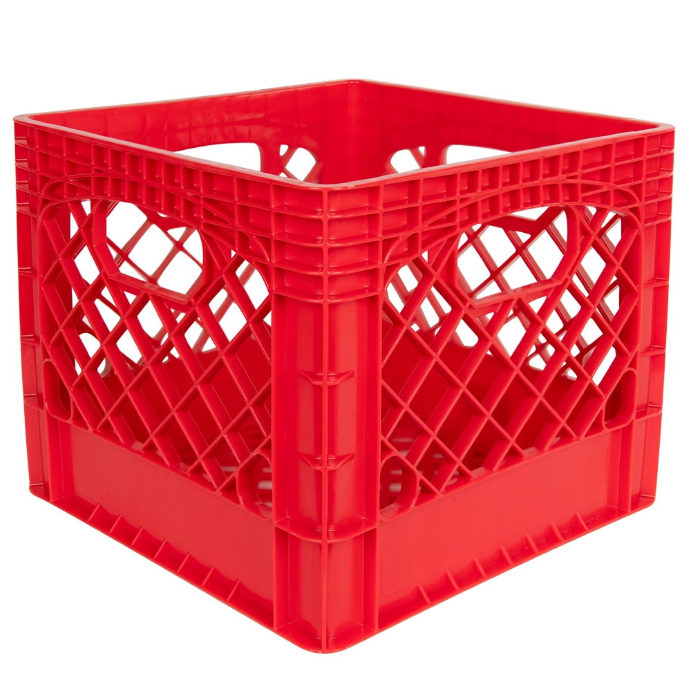 "Red Vented Dairy Crate - 13.1"" L x 13.1"" W x 11"" Hgt."