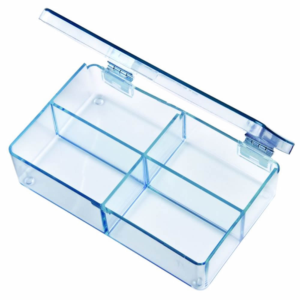"Mighty-Tuff™ Box with 4 Compartments - 4-5/16"" L x 2-5/8"" W x 1-1/16 Hgt."