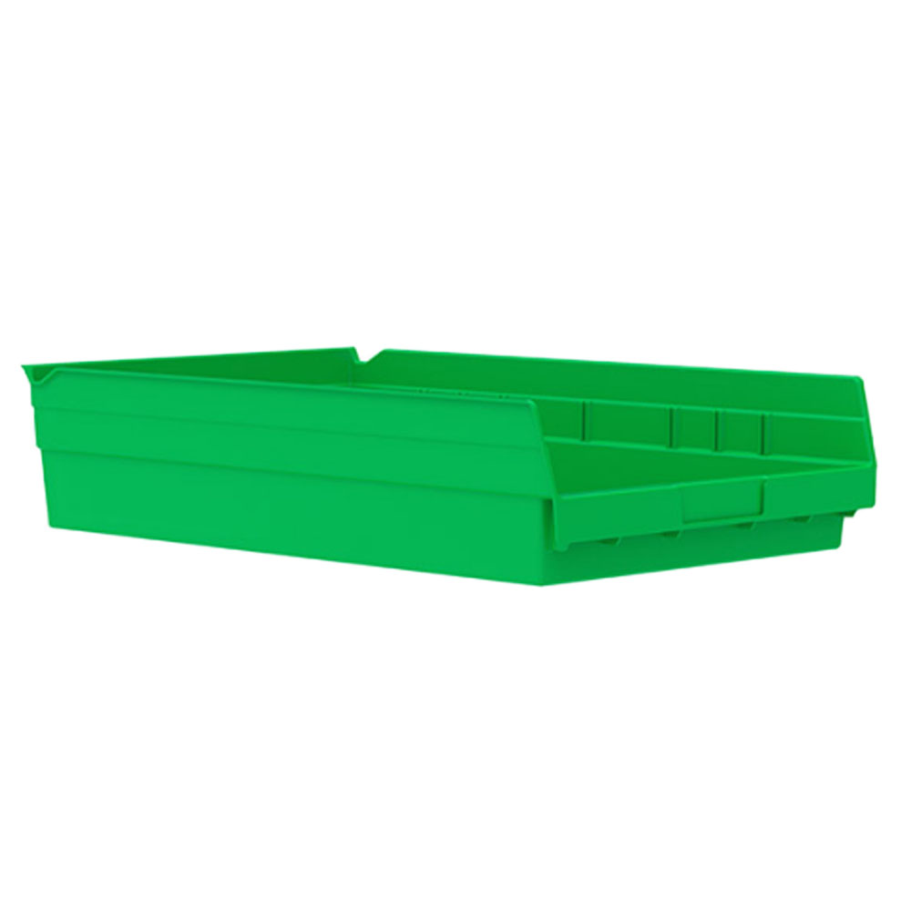 "17-7/8"" L x 11-1/8"" W x 4"" H Green Akro-Mils® Shelf Bin"