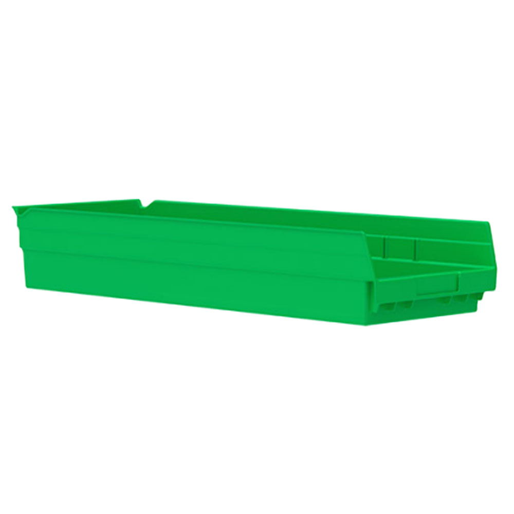 "23-5/8"" L x 8-3/8"" W x 4"" H Green Akro-Mils® Shelf Bin"
