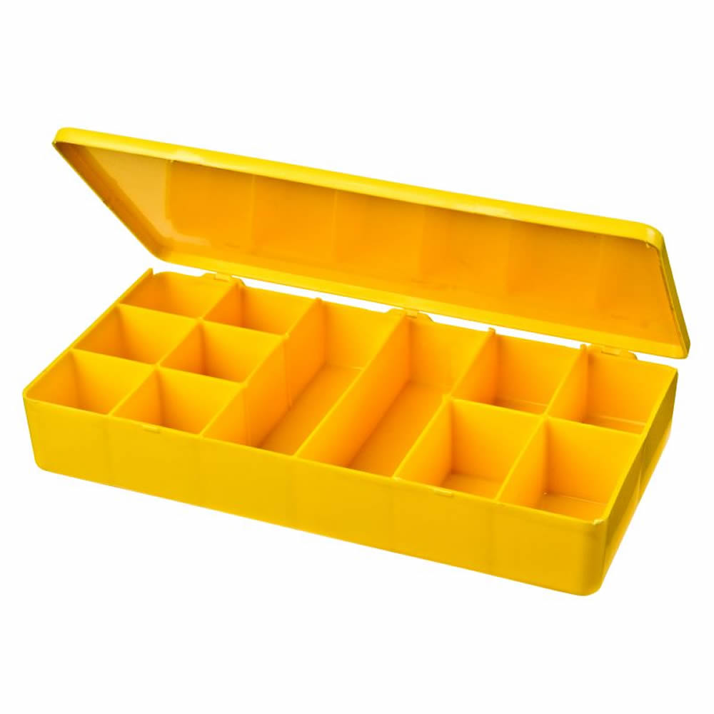 """M-Series Yellow Polypropylene Box with 12 Compartments - 8"""" L x 4"""" W x 1.19"""" Hgt."""