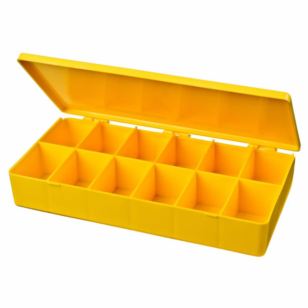 "M-Series Yellow Polypropylene Box with 12 Compartments - 8"" L x 4"" W x 1.19"" Hgt."