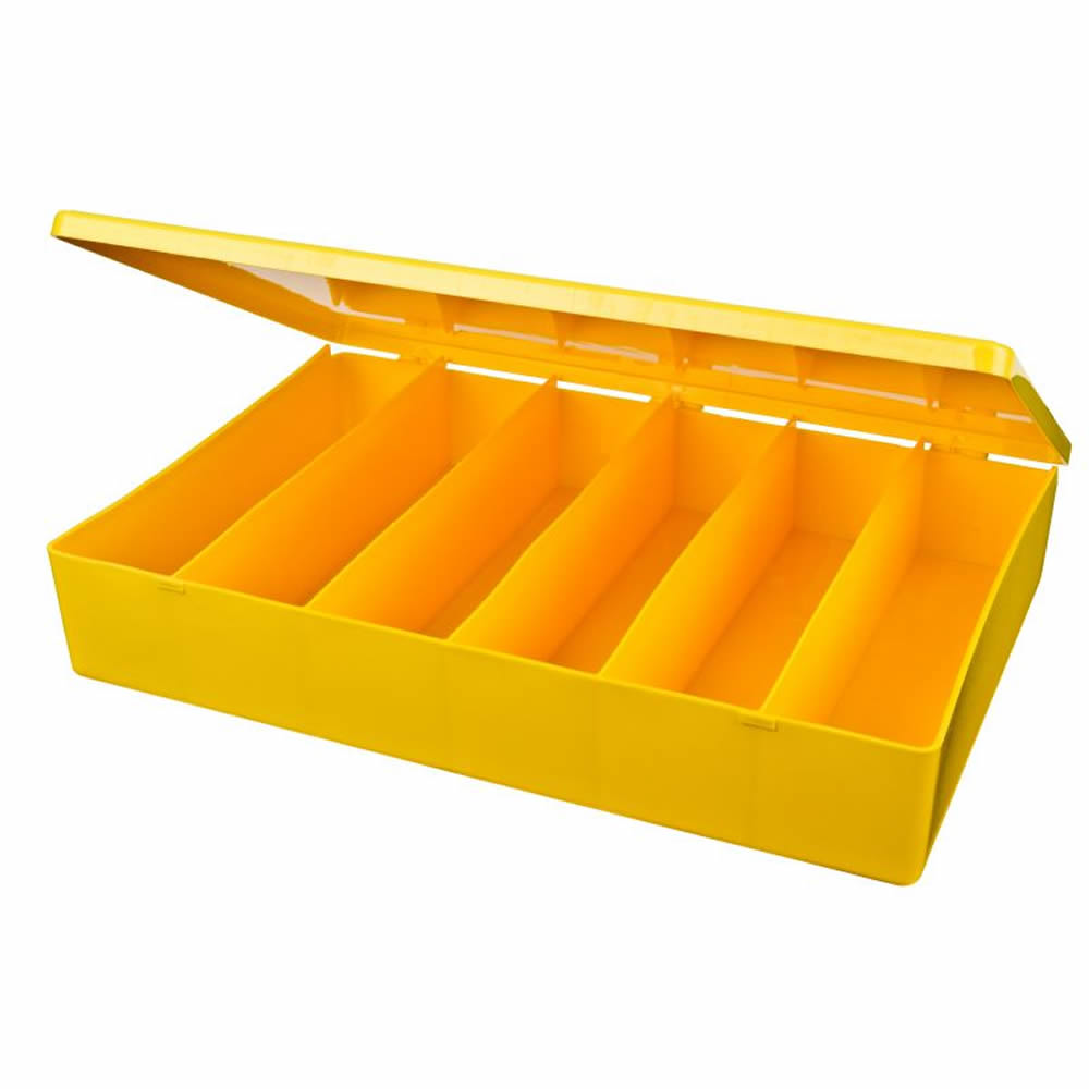 "M-Series Yellow Polypropylene Box with 6 Compartments - 12.75"" L x 8.5"" W x 2.12"" Hgt."