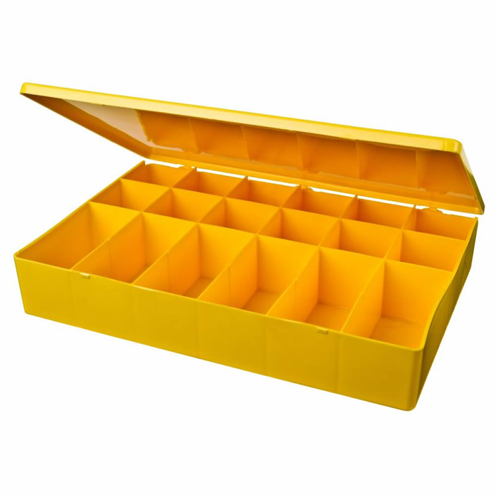 "M-Series Yellow Polypropylene Box with 18 Compartments - 12.75"" L x 8.5"" W x 2.12"" Hgt."
