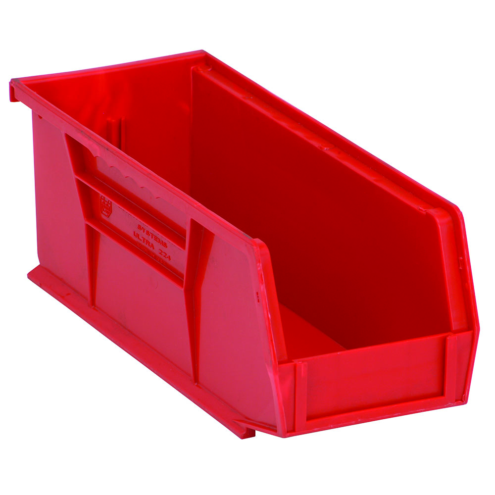 "Red Quantum® Ultra Series Stack & Hang Bin - 10-7/8"" L x 4-1/8"" W x 4"" Hgt."