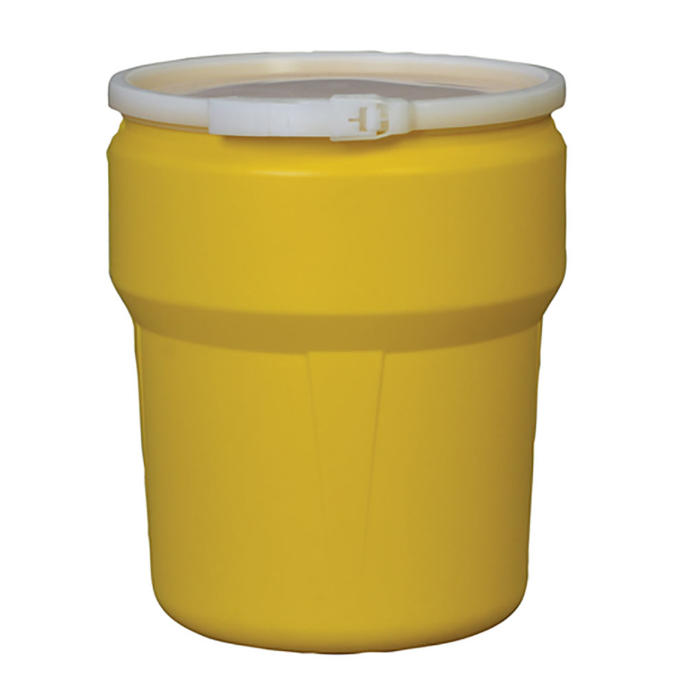 10 Gallon Yellow Open Head Poly Drum with Plastic Lever-Lock Ring
