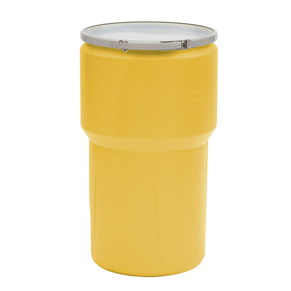 14 Gallon Yellow Open Head Poly Drum with Metal Lever-Lock Ring