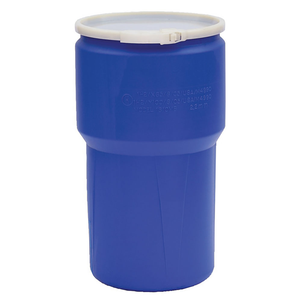 14 Gallon Blue Open Head Poly Drum with Plastic Lever-Lock Ring