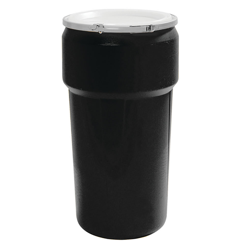 20 Gallon Black Open Head Poly Drum with Plastic Lever-Lock Ring