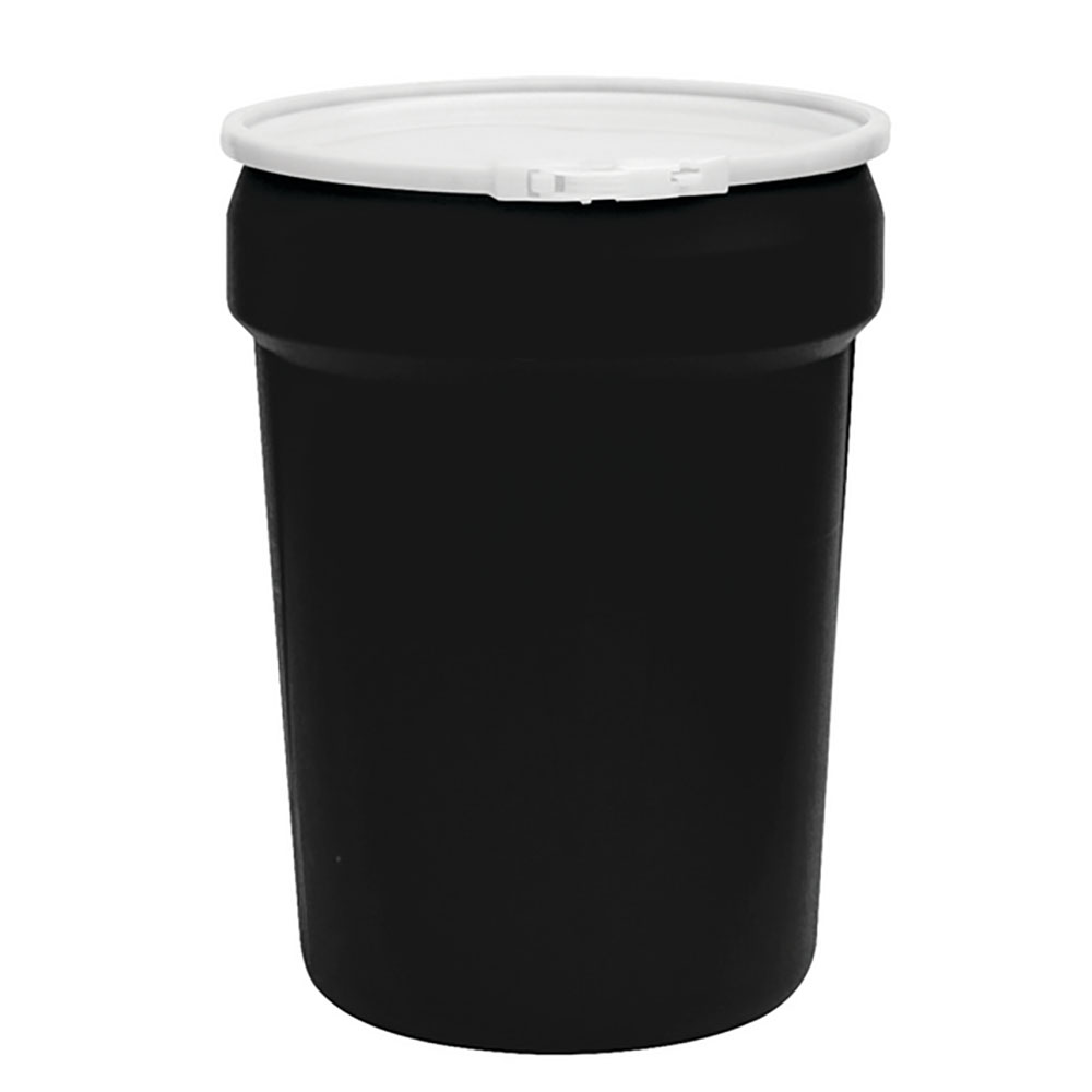 30 Gallon Black Open Head Poly Drum with Plastic Lever-Lock Ring