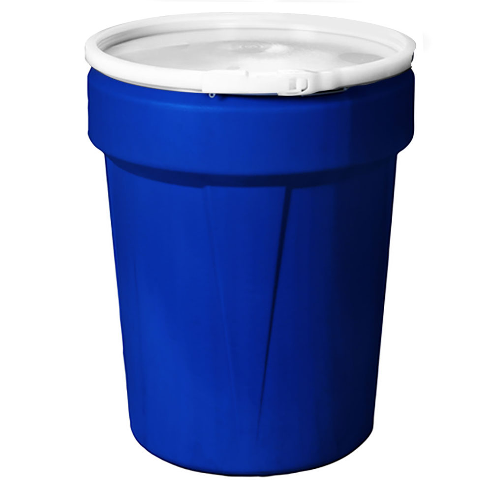 40 Gallon Blue Open Head Poly Drum with Plastic Lever-Lock Ring