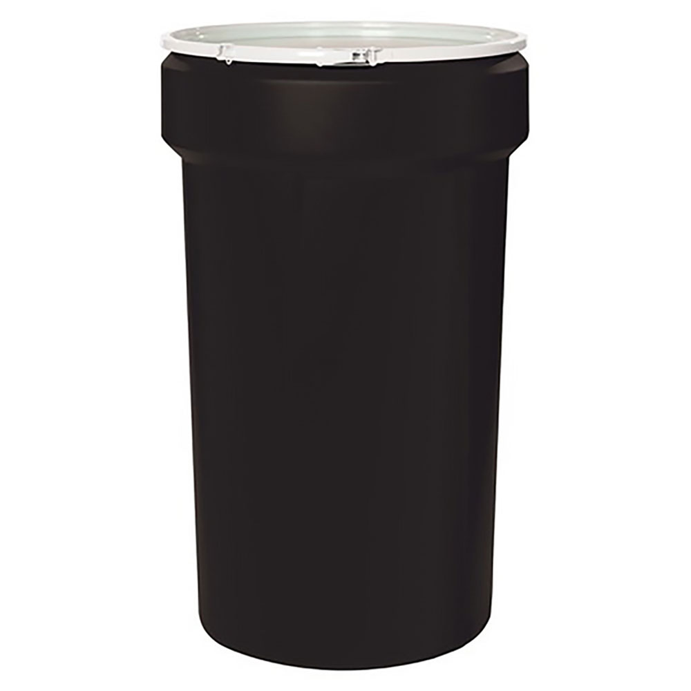 55 Gallon Black Open Head Poly Drum with Plastic Lever-Lock Ring