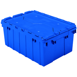 "21-1/2"" L x 15"" W x 9"" H OD Blue Akro-Mils® Attached Lid Container"