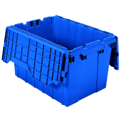 "21-1/2"" L x 15"" W x 12-1/2"" H OD Blue Akro-Mils® Attached Lid Container"