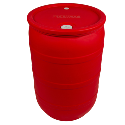 "55 Gallon Red Closed Head Drum with 3/4"" & 2"" NPS Bungs"