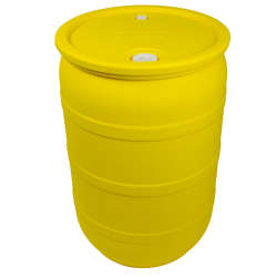 "30 Gallon Yellow Closed Head Drum with 3/4"" & 2"" NPS Bungs"