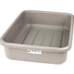 "20-3/4"" L x 15-1/2"" W x 5-1/4"" H Light Gray Polyethylene Tamco® Tote Pan"
