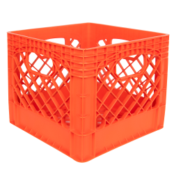 "Orange Vented Dairy Crate - 13.1"" L x 13.1"" W x 11"" Hgt."
