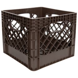 Brown Vented Dairy Crate - 13.1 L x 13.1 W x 11 Hgt.
