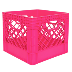 "Pink Vented Dairy Crate - 13.1"" L x 13.1"" W x 11"" Hgt."