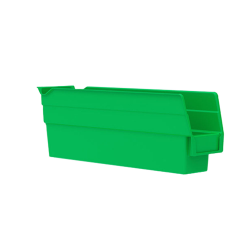 "11-5/8"" L x 2-3/4"" W x 4"" H Green Akro-Mils® Shelf Bin"