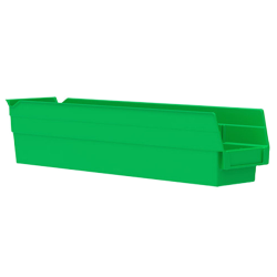 "17-7/8"" L x 4-1/8"" W x 4"" H Green Akro-Mils® Shelf Bin"