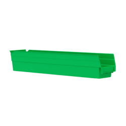 "23-5/8"" L x 4-1/8"" W x 4"" H Green Akro-Mils® Shelf Bin"