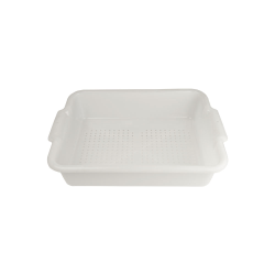 "White Self-Draining Pan 20-1/4"" L x 15-1/4"" W x 5"" Hgt. with 1/4"" Holes"