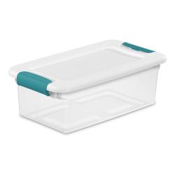 6 qt. Sterilite ® Latch Box with White Lid & Blue Handles