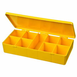 "M-Series Yellow Polypropylene Box with 9 Compartments - 6.75"" L x 3.19"" W x 1.19"" H"