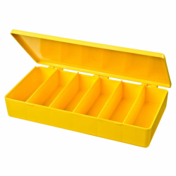 "M-Series Yellow Polypropylene Box with 6 Compartments - 8"" L x 4"" W x 1.19"" H"