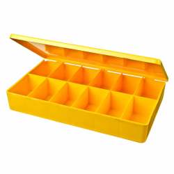 "M-Series Yellow Polypropylene Box with 12 Compartments - 10.5"" L x 6.19"" W x 1.6"" Hgt."