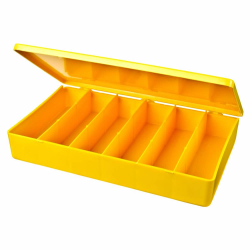 "M-Series Yellow Polypropylene Box with 6 Compartments - 10.5"" L x 6.19"" W x 1.6"" H"