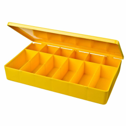 "M-Series Yellow Polypropylene Box with 12 Compartments - 10.5"" L x 6.19"" W x 1.6"" H"