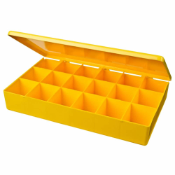 "M-Series Yellow Polypropylene Box with 18 Compartments - 10.5"" L x 6.19"" W x 1.6"" Hgt."