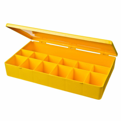 "M-Series Yellow Polypropylene Box with 13 Compartments - 10.5"" L x 6.19"" W x 1.6"" H"