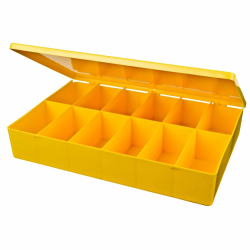 "M-Series Yellow Polypropylene Box with 12 Compartments - 12.75"" L x 8.5"" W x 2.12"" H"