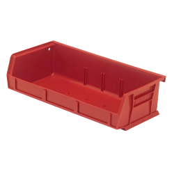 "5-3/8"" L x 11"" W x 3"" H Red Quantum® Ultra Series Stack & Hang Bin"