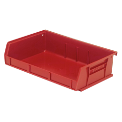 "7-3/8"" L x 11"" W x 3"" H Red Quantum® Ultra Series Stack & Hang Bin"