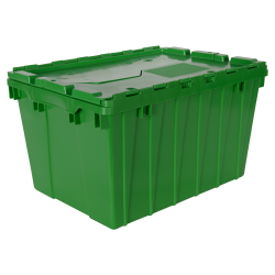 "Green Akro-Mils® Attached Lid Container - 21-1/2"" L x 15"" W x 12-1/2"" H OD"
