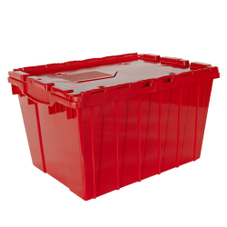 "Red Akro-Mils® Attached Lid Container - 21-1/2"" L x 15"" W x 12-1/2"" H OD"