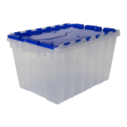 "Clear Akro-Mils® Attached Lid Container with Blue Lid - 21-1/2"" L x 15"" W x 12-1/2"" H OD"
