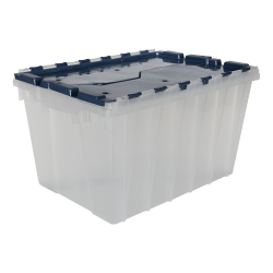 "Clear Akro-Mils® Attached Lid Container with Blue Lid & Two Steel Rails - 21-1/2"" L x 15"" W x 12-1/2"" H OD"