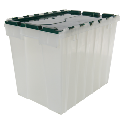 "Clear Akro-Mils® Attached Lid Container with Green Lid - 21-1/2"" L x 15"" W x 17"" H OD"