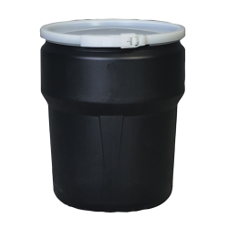 10 Gallon Black Open Head Poly Drum with Plastic Lever-Lock Ring