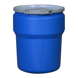 10 Gallon Blue Open Head Poly Drum with Metal Lever-Lock Ring
