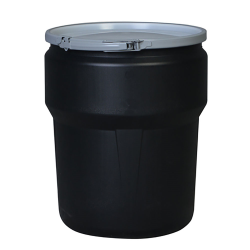 10 Gallon Black Open Head Poly Drum with Metal Lever-Lock Ring