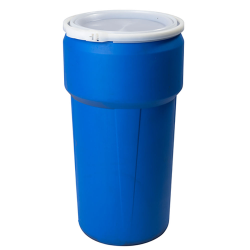 20 Gallon Blue Open Head Poly Drum with Plastic Lever-Lock Ring